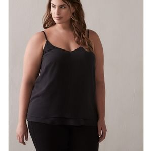 Addition Elle Black Silky V-Neck Camisole New NWT